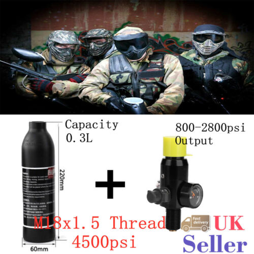 New Paintball PCP 0.3L 4500psi High Compressed Air Cyclinder Bottle w// Regulator