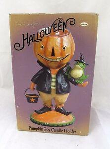 Halloween-Decor-Pumpkin-Boy-Candle-Holder-Country-Primitive-Vtg-Witch-Hat-Frog