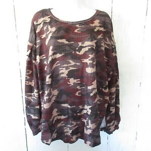 New-Umgee-Top-1X-Camouflage-Camo-Waffle-Knit-Gray-Puff-Sleeve-Plus-Size