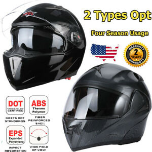 DOT Motorcycle Modular Flip Up Dual Visor Full Face Helmet Carbon Fiber Headset