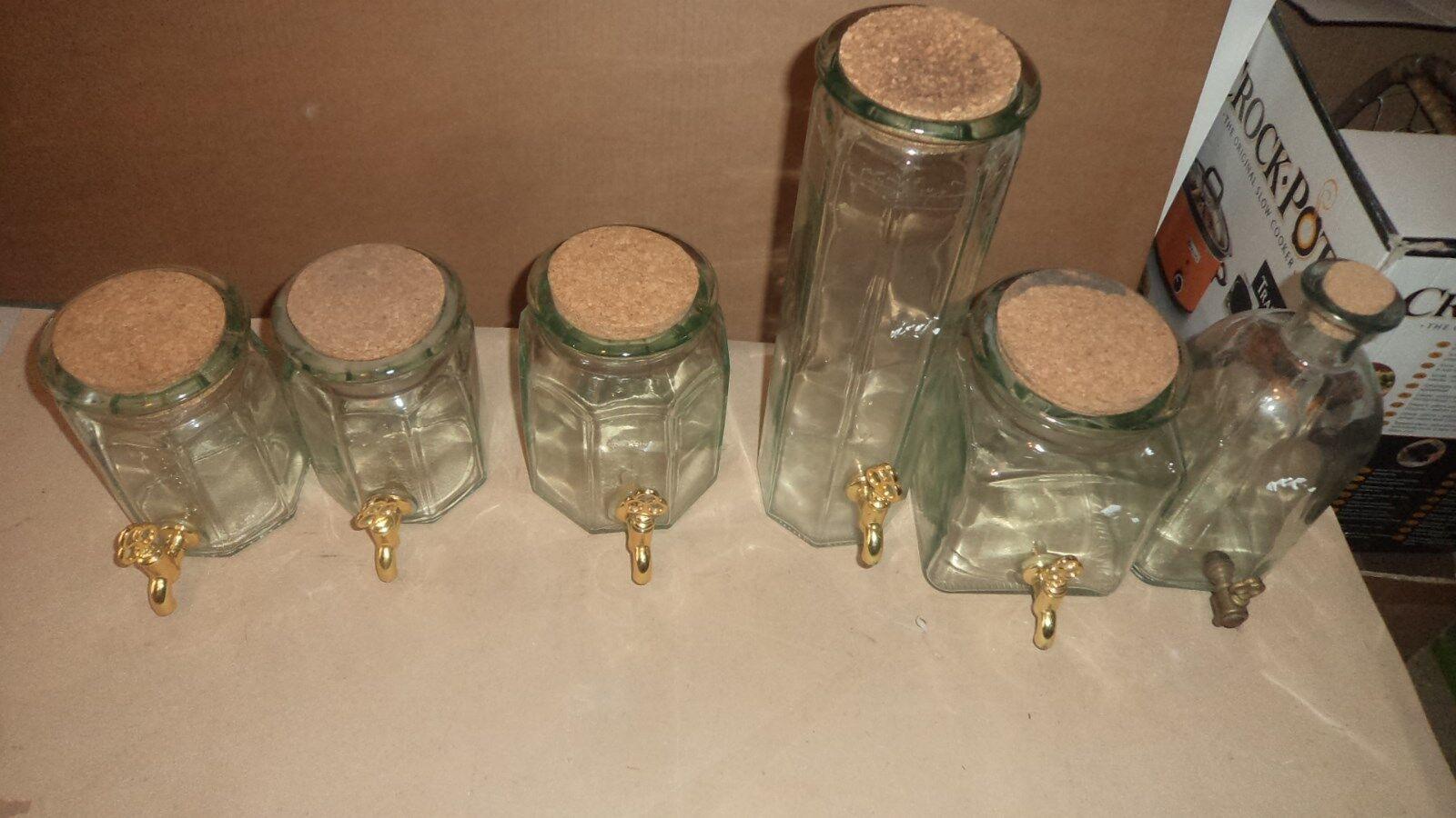 6 x Français pots de verre avec robinets idéal pour assaisonner Gin at home