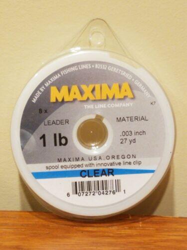 environ 0.01 cm - Clair Maxima Ligne de pêche leader roue 1 Lb .003 in environ 24.69 m environ 0.45 kg Bobine 27 Yd