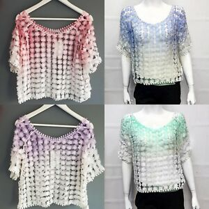 New-Women-Ladies-Summer-Daisy-Floral-Fish-Net-Mesh-Short-Sleeve-Top-Shirt