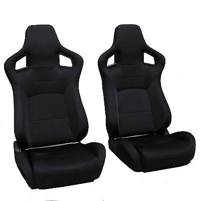 Black SVX style reclining bucket style seats Land Rover Defender Interior 90 110