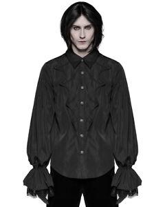 Punk-Rave-Camiseta-para-Hombre-Vampiro-Gotico-Steampunk-Victoriano-de-Boda-de-Encaje-Negro-Superior