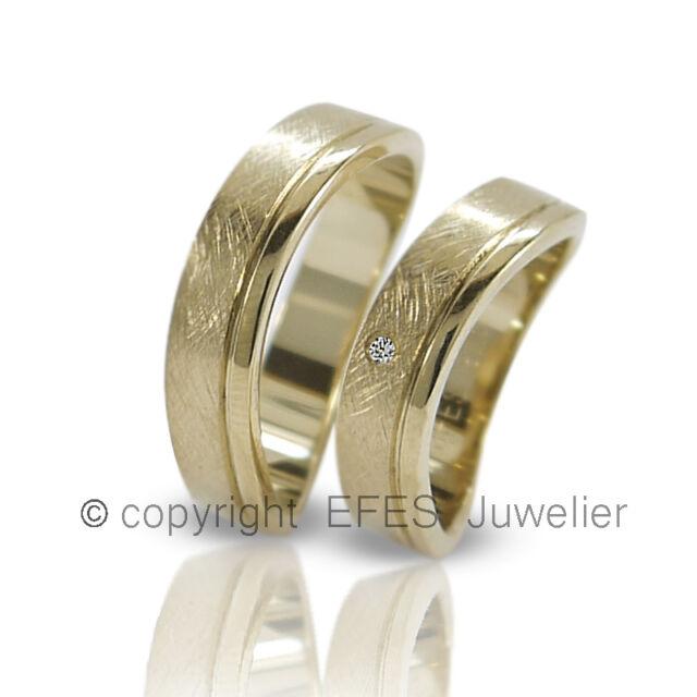 2 Trauringe / Eheringe aus 925 Silber mit einem Stein & kostenloser Gravur!