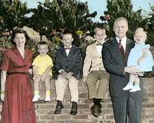 "GERALD FORD & FAMILY 38TH U.S. PRESIDENT 1958 8x10"" HAND COLOR TINTED PHOTO"