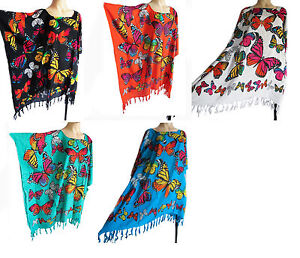 BUTTERFLY-KAFTAN-PONCHO-tunic-top-beach-wear-one-size-fits-large-plus-size-new