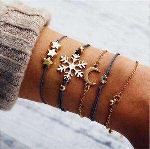 5Pcs-Set-Women-Snowflake-Moon-and-Stars-Bracelet-Set-Bangle-Chain-Jewelry