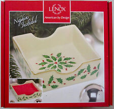 LENOX PORCELAIN DIMENSIONS HOLIDAY NAPKIN HOLDER WITH RED NAPKINS ~ NEW WITH TAG