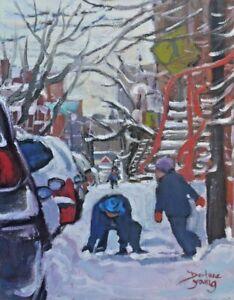 Montreal-Winter-Scene-Kids-8x10-Oil-Darlene-Young-Canadian-Artist