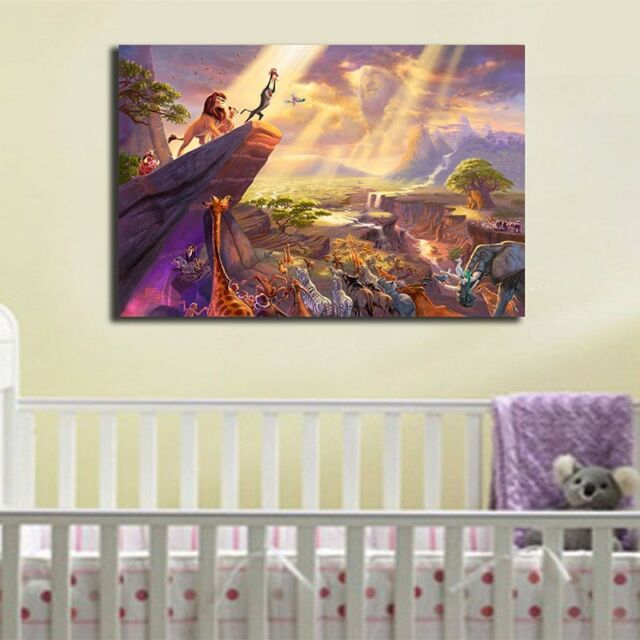 30×45×3cm Lion King Stretched Canvas Print Framed Wall Art Kids Nursery Decor