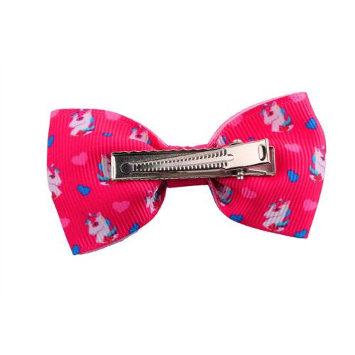5//10Pc Girls Unicorn Bow Ribbon Alligator Hair Clips Hairpins Barrette Headwear