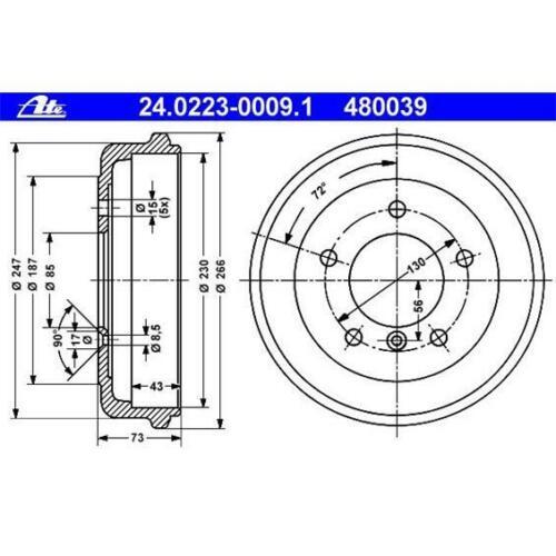 ATE 24.0223-0009.1 Bremstrommeln 2 Stück für MERCEDES-BENZ