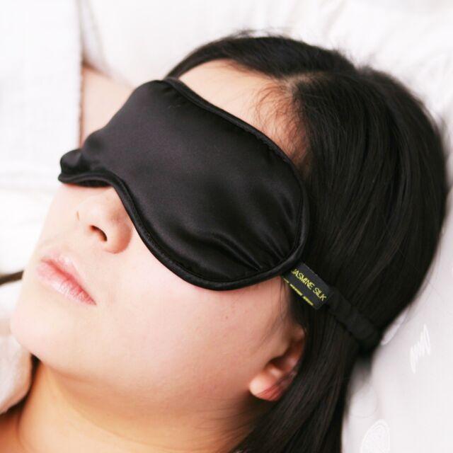 Jasmine Silk Pure Silk Filled Sleep Eye Mask Sleeping blindfold Black