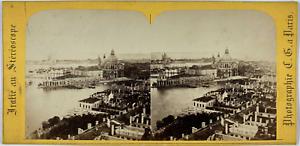 Stéréo, Italie, Venise, panorama de la Salute Vintage stereo card,  Tirage alb