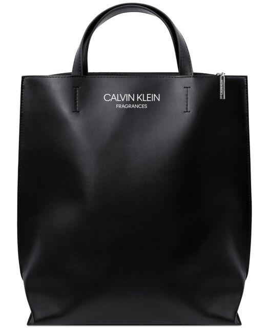 Calvin Klein Fragrances Black Tote Faux Leather Handbag Purse Book Shoulder Bag
