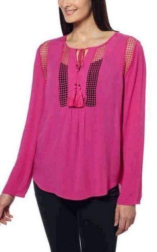 9c5a3e17b98d6b Joseph a Top XL Pink Crochet Peasant Fringe Tie Tunic Shirt Blouse for sale  online