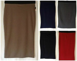 NEW LADIES SIZES 6-18 STRETCH JERSEY BODYCON PLAIN FORMAL PENCIL SKIRT*5 COLOURS