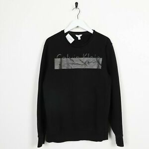 Vintage-CALVIN-KLEIN-Big-Logo-Sweatshirt-Jumper-Black-Medium-M