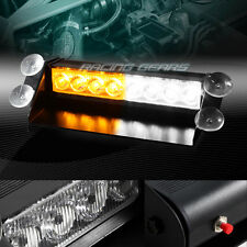 8 LED AMBER & WHITE EMERGENCY CAR TRUCK DASHBOARD WARNING FLASH STROBE LIGHT BAR