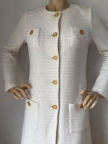 Nwt St John Knit Evening Topper Jacket Size 6 Bright White &Amp; Silver by St John Knit