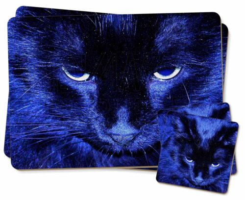 AC-81PC Black Cat in Blue Night Light Twin 2x Placemats+2x Coasters Set in Gift