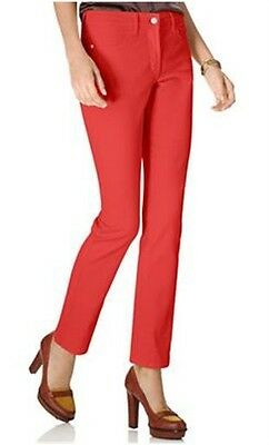 NYDJ Not Your Daughters Jeans Sheri Skinny Petite Coated Jasper Red Pants Size 16P