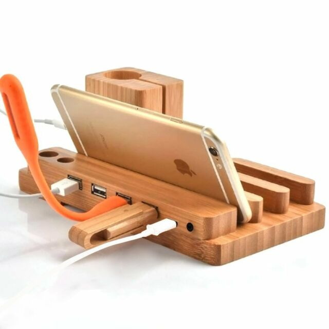 Wood Charge Charging Dock Stand Holder For Apple Watch iPhone 8 i Pad Mini/Air 2