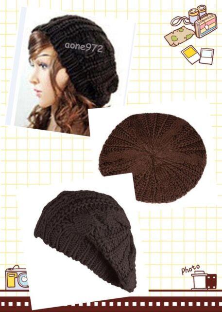 f22de0df811 Brown Lady Beret Braided Baggy Knit Crochet Beanie Hat Ski Cap Winter Warm