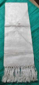 Antique Large Linen Damask Fringed Show Towel ITALY Never Used Floral Pattern