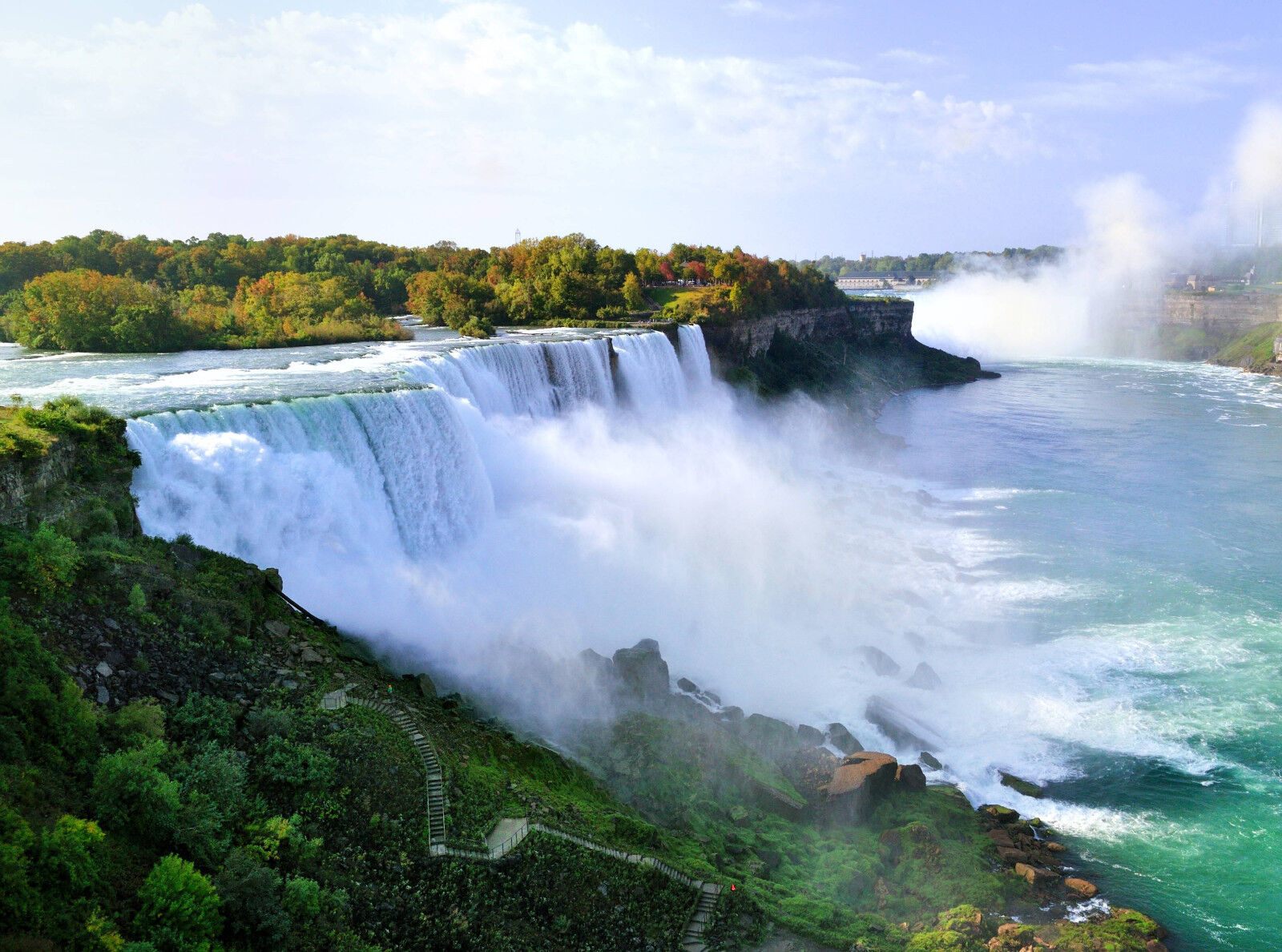 Fototapete-NIAGARA FALLS (314P)-350x260cm-7Bahnen-Wasserfall Meer See Steine XXL