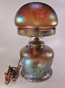 Exceptionally-Rare-LOETZ-MEDICI-Art-Glass-Table-Lamp-19-034-Tall-ca-1902-Nice