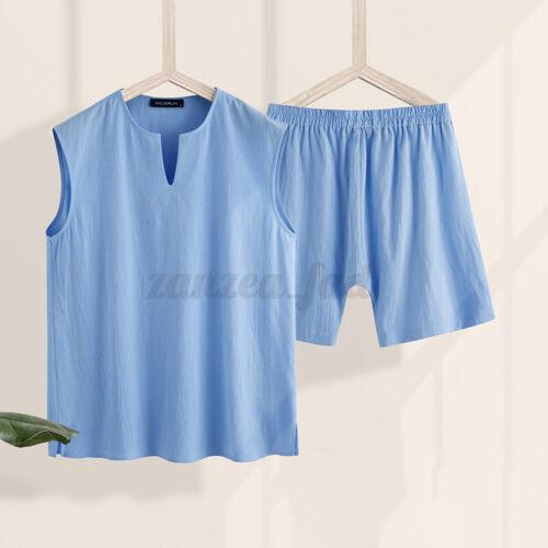 Herren Pyjama 100/% Baumwolle Loungewear Set Sommer kausale lose Nachtwäsche set