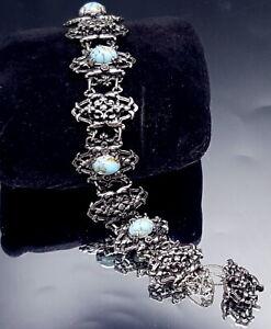 Vintage-Turquoise-glass-cabochon-dark-silver-bracelet