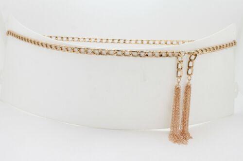 Women Striking Belt Gold Metal Chain Tassel Buckle Fringes Charms Showgirls S M