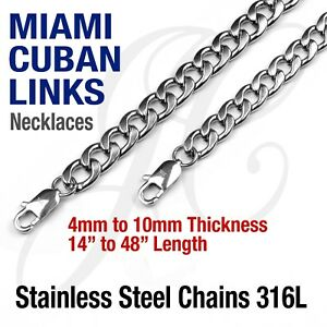 Stainless-Steel-316L-Miami-Cuban-Curb-Link-Chain-Necklace-14-48-034-Silver-tone