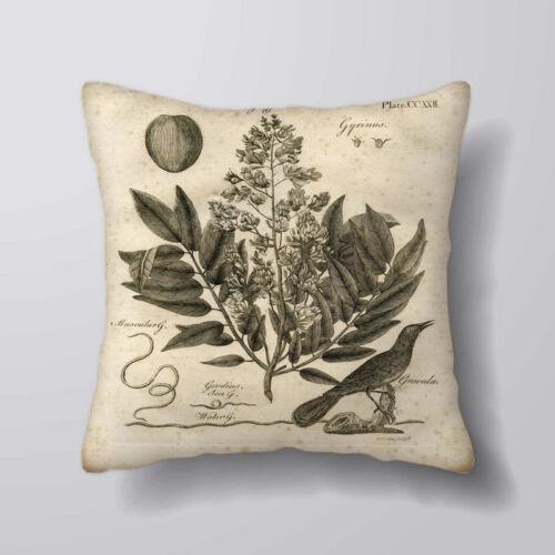 Cushion Covers Pillow Cases Home Decor or Inner botanical Bird
