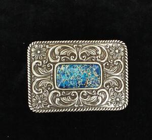 Silver-amp-BLUE-Faux-LAPIS-AZURITE-Stone-Western-Belt-Buckle-Square-37978