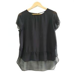 Trenery-Women-039-s-Silk-Blouse-Top-Black-Sheer-Sleeves-Size-M