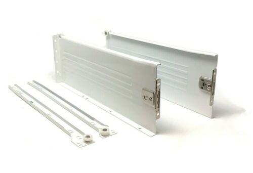 400mm White Metal Sided Drawer RunnersMetaboxTwo Heights Available