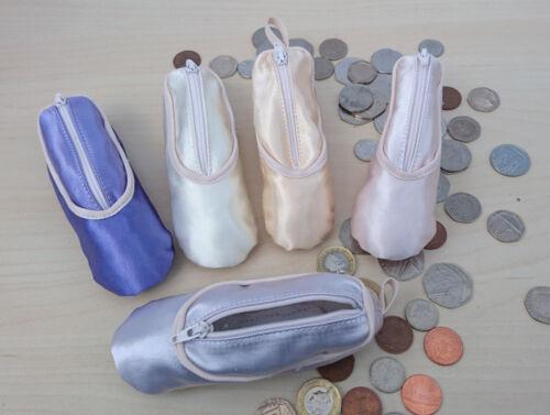 Sansha Handmade Satin Ballet Shoe Coin Purse//Bag Charm Zip Open In 5 Colours 1pc