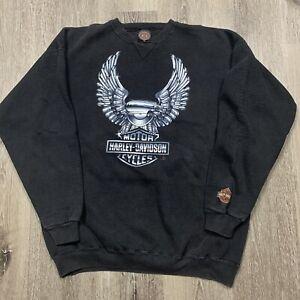 Vintage 90's Harley Davidson Big Eagle Metallic Shield Crewneck Sweatshirt XL