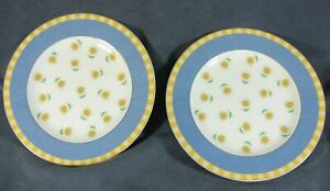 Studio-Nova-Y0310-Spring-Terrace-Salad-Plates-Lot-of-2-Yellow-Plaid-Sunflowers