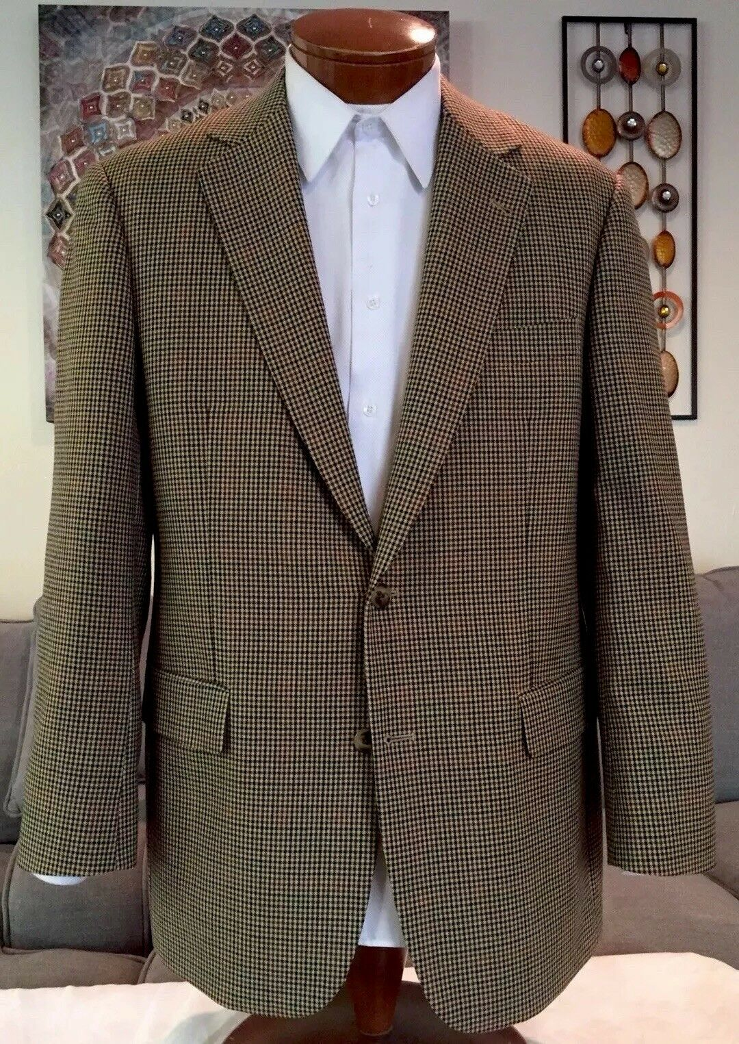 NEW Brooks Bredhers Mens Plaid Multicolor Wool 2 Btn Blazer Sz 40 41 42 R MINT