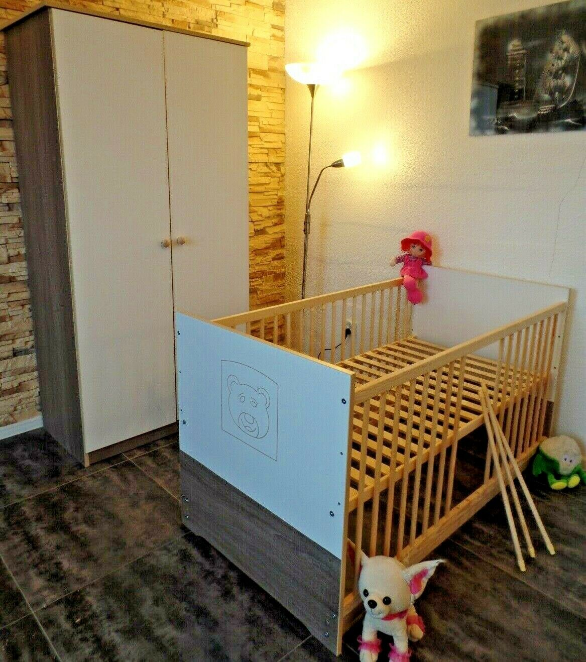 Babyzimmer Komplett Schrank Babybett Umbaubar Jugendbett 140x70 Weiß-Braun