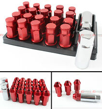 20PCS RED R-STYLE CLOSE END EXTENDED WHEEL LUG NUTS+LOCK & KEY FITS MITSUBISHI