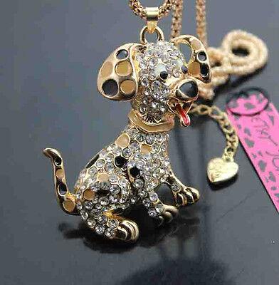 508B   Betsey Johnson Crystal  Enamel Puppy Pendant Necklaces