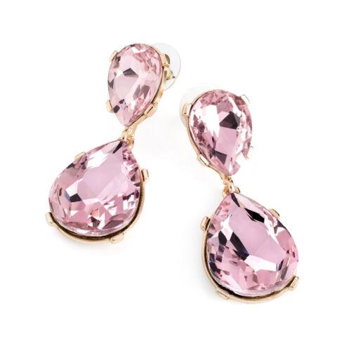 Señoras Oro y pendientes de cristal de color Rosa Moda Joyería
