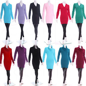 Womens-V-Neck-Knitted-Jumper-Bodycon-Dress-Tunic-Spring-Top-Size-8-10-12-14-16
